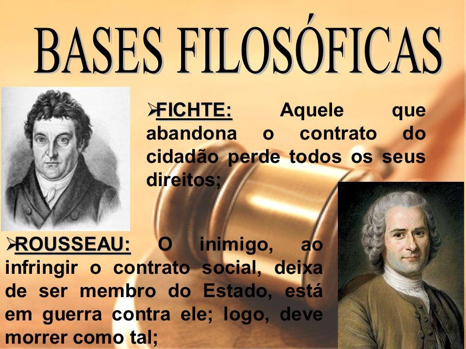 FICHTE: FICHTE: Aquele que abandona o contrato do cidadão perde todos os seus direitos; ROUSSEAU: ROUSSEAU: O inimigo, ao infringir o contrato social,