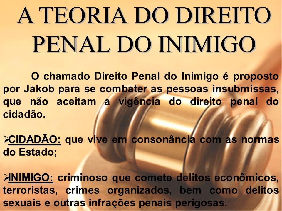 O chamado Direito Penal do Inimigo é proposto por Jakob para se combater as pessoas insubmissas, que não aceitam a vigência do direito penal do cidadã