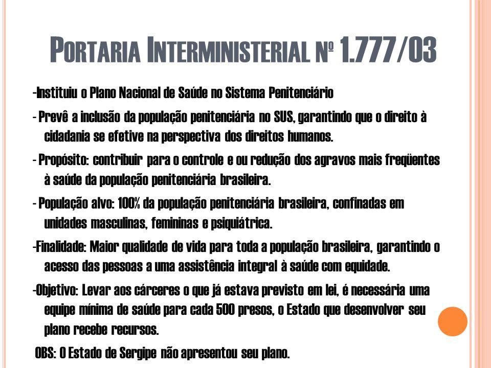 P ORTARIA I NTERMINISTERIAL Nº 1.777/03 - Instituiu o Plano Nacional de Saúde no Sistema Penitenciário - Prevê a inclusão da população penitenciária no SUS, garantindo que o direito à cidadania se efetive na perspectiva dos direitos humanos.
