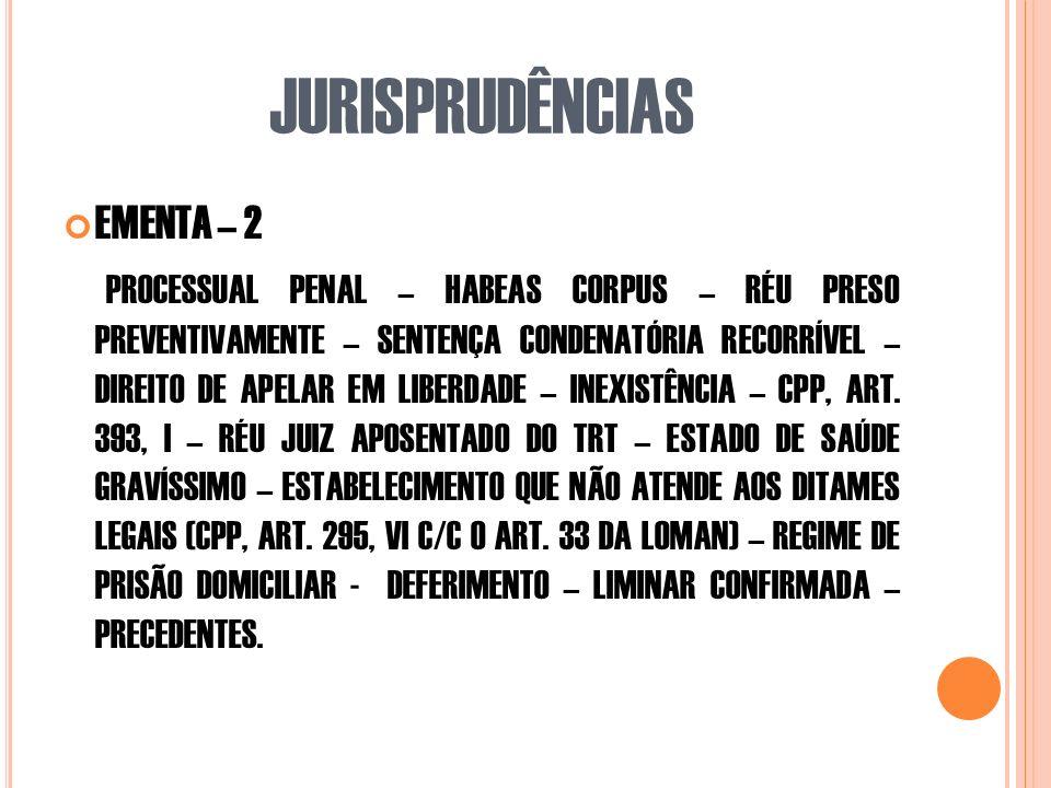JURISPRUDÊNCIAS EMENTA – 2 PROCESSUAL PENAL – HABEAS CORPUS – RÉU PRESO PREVENTIVAMENTE – SENTENÇA CONDENATÓRIA RECORRÍVEL – DIREITO DE APELAR EM LIBERDADE – INEXISTÊNCIA – CPP, ART.