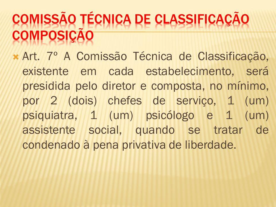 Art. 7º A Comissão Técnica de Classificação, existente em cada estabelecimento, será presidida pelo diretor e composta, no mínimo, por 2 (dois) chefes