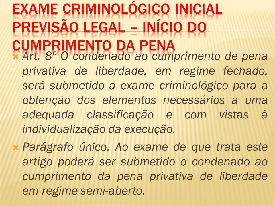 Art. 8º O condenado ao cumprimento de pena privativa de liberdade, em regime fechado, será submetido a exame criminológico para a obtenção dos element