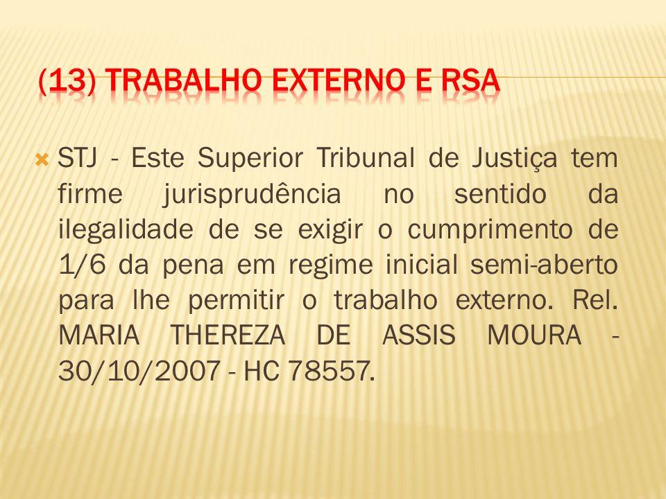 STJ - Este Superior Tribunal de Justiça tem firme jurisprudência no sentido da ilegalidade de se exigir o cumprimento de 1/6 da pena em regime inicial semi-aberto para lhe permitir o trabalho externo.