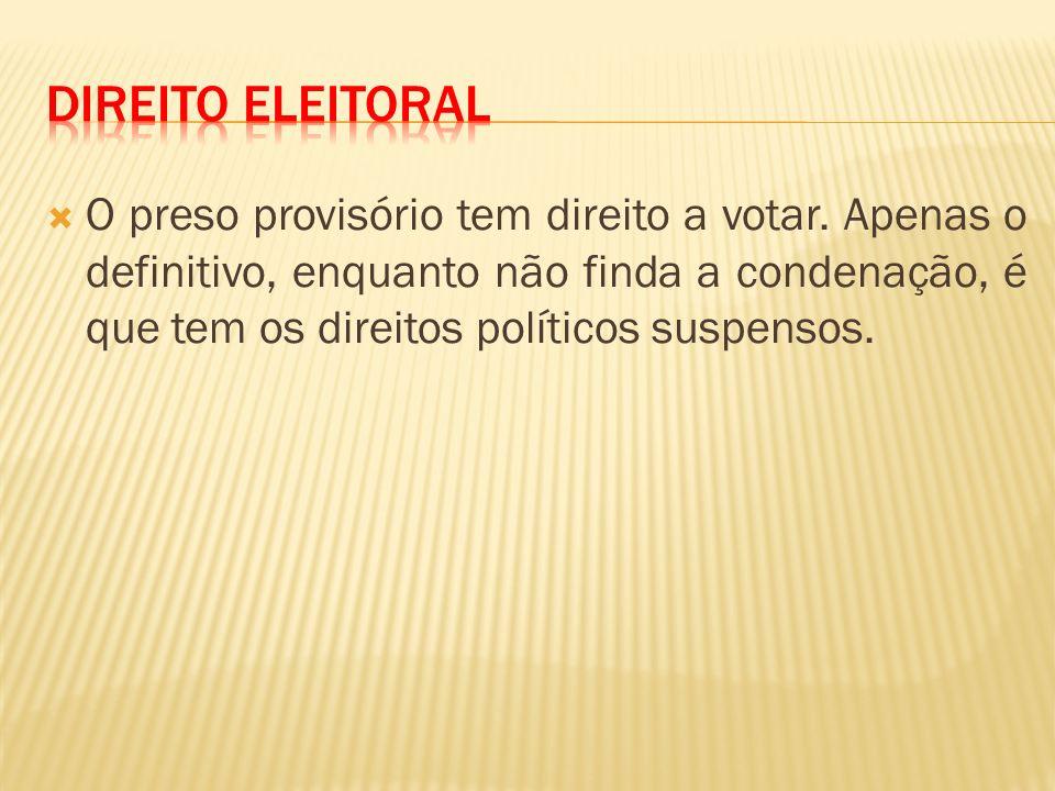 O preso provisório tem direito a votar.