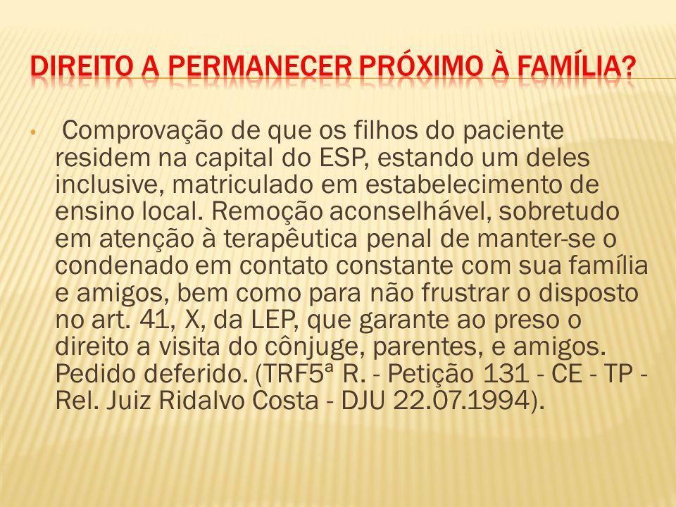 Comprovação de que os filhos do paciente residem na capital do ESP, estando um deles inclusive, matriculado em estabelecimento de ensino local.