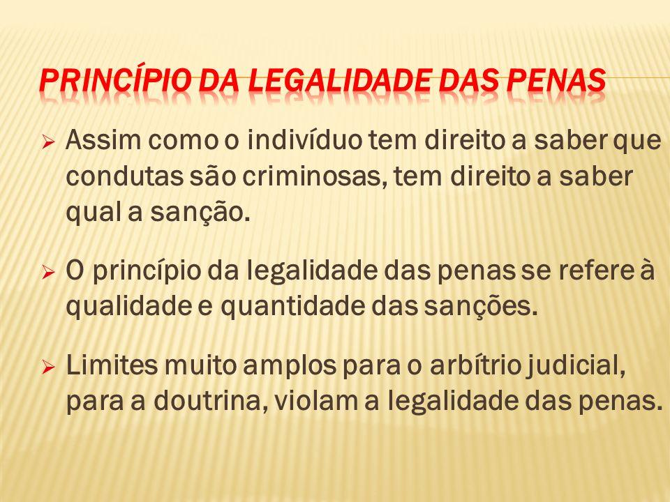 Assim como o indivíduo tem direito a saber que condutas são criminosas, tem direito a saber qual a sanção.