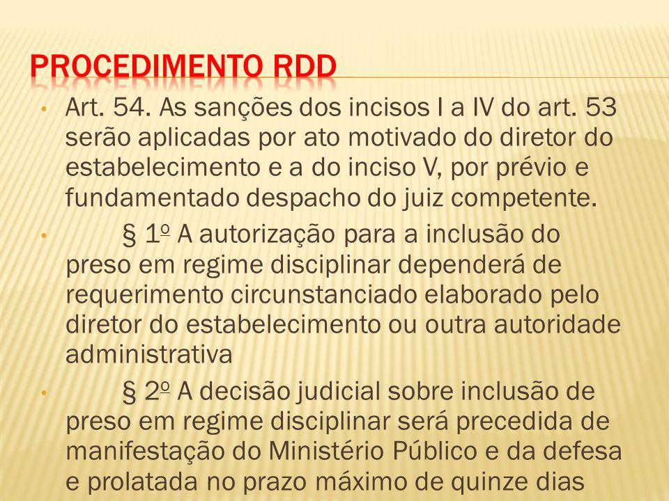Art.54. As sanções dos incisos I a IV do art.