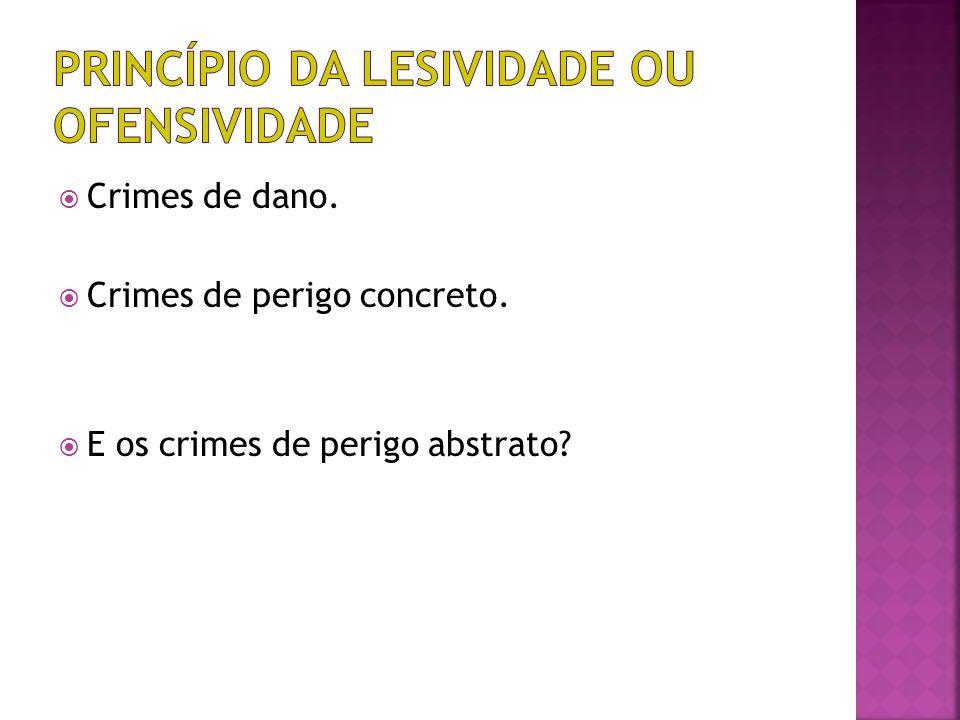 Crimes de dano. Crimes de perigo concreto. E os crimes de perigo abstrato?