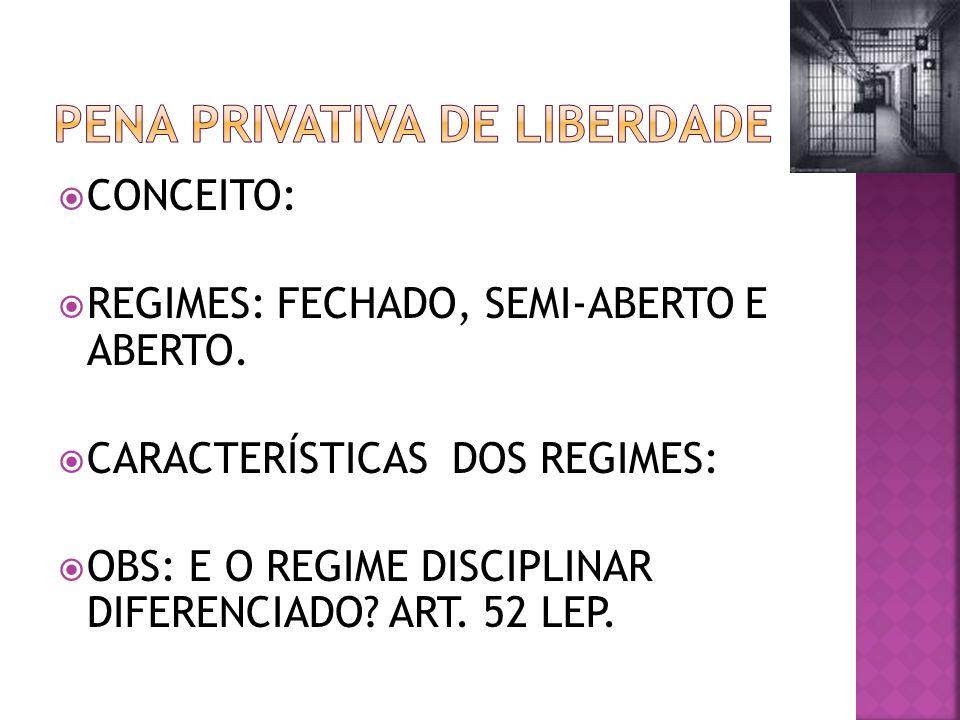 CONCEITO: REGIMES: FECHADO, SEMI-ABERTO E ABERTO.
