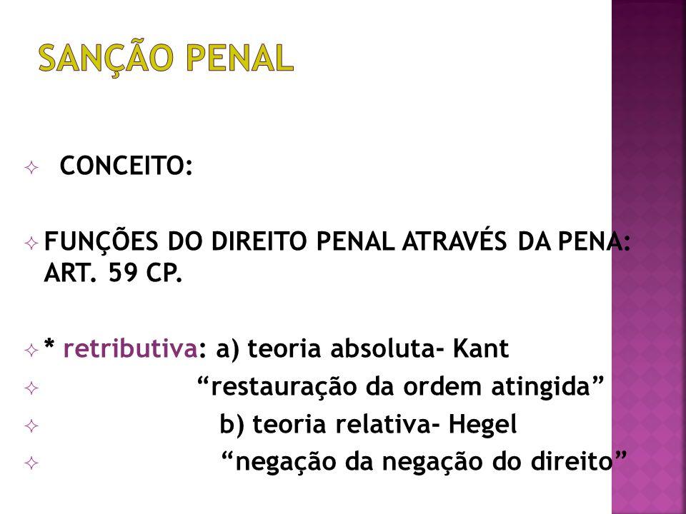 CONCEITO: FUNÇÕES DO DIREITO PENAL ATRAVÉS DA PENA: ART.