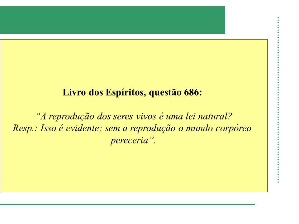 Livro dos Espíritos, questão 686: A reprodução dos seres vivos é uma lei natural? Resp.: Isso é evidente; sem a reprodução o mundo corpóreo pereceria.