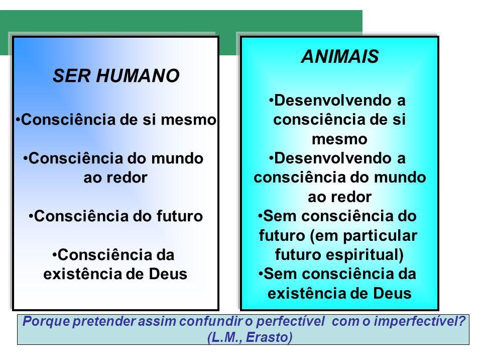 SER HUMANO Consciência de si mesmo Consciência do mundo ao redor Consciência do futuro Consciência da existência de Deus ANIMAIS Desenvolvendo a consc
