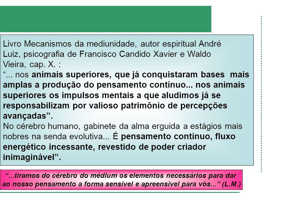 Livro Mecanismos da mediunidade, autor espiritual André Luiz, psicografia de Francisco Candido Xavier e Waldo Vieira, cap. X. :... nos animais superio