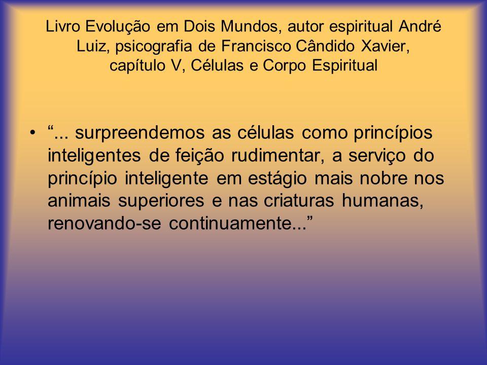 Livro Evolução em Dois Mundos, autor espiritual André Luiz, psicografia de Francisco Cândido Xavier, capítulo V, Células e Corpo Espiritual...