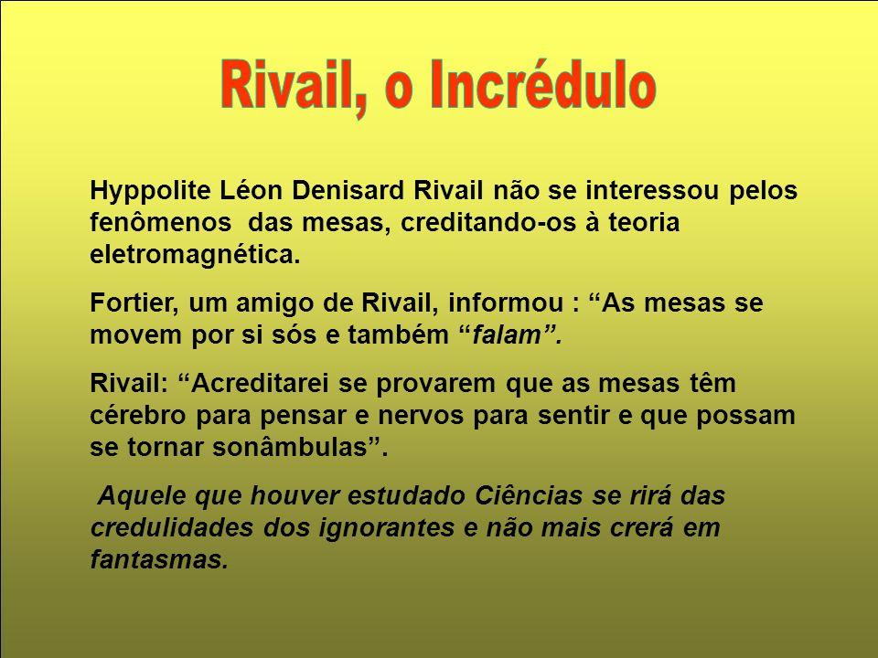 Hyppolite Léon Denisard Rivail não se interessou pelos fenômenos das mesas, creditando-os à teoria eletromagnética. Fortier, um amigo de Rivail, infor