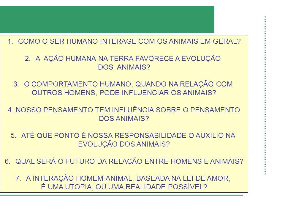 1.COMO O SER HUMANO INTERAGE COM OS ANIMAIS EM GERAL.