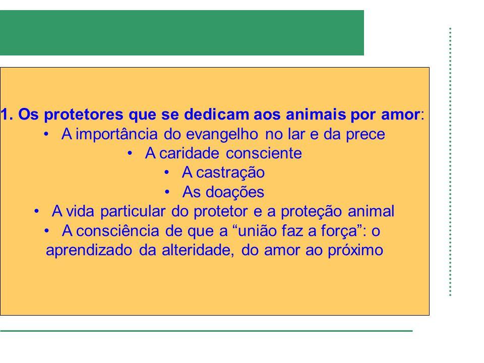 1.Os protetores que se dedicam aos animais por amor: A importância do evangelho no lar e da prece A caridade consciente A castração As doações A vida