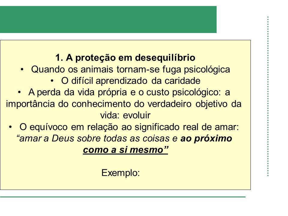 1.A proteção em desequilíbrio Quando os animais tornam-se fuga psicológica O difícil aprendizado da caridade A perda da vida própria e o custo psicoló