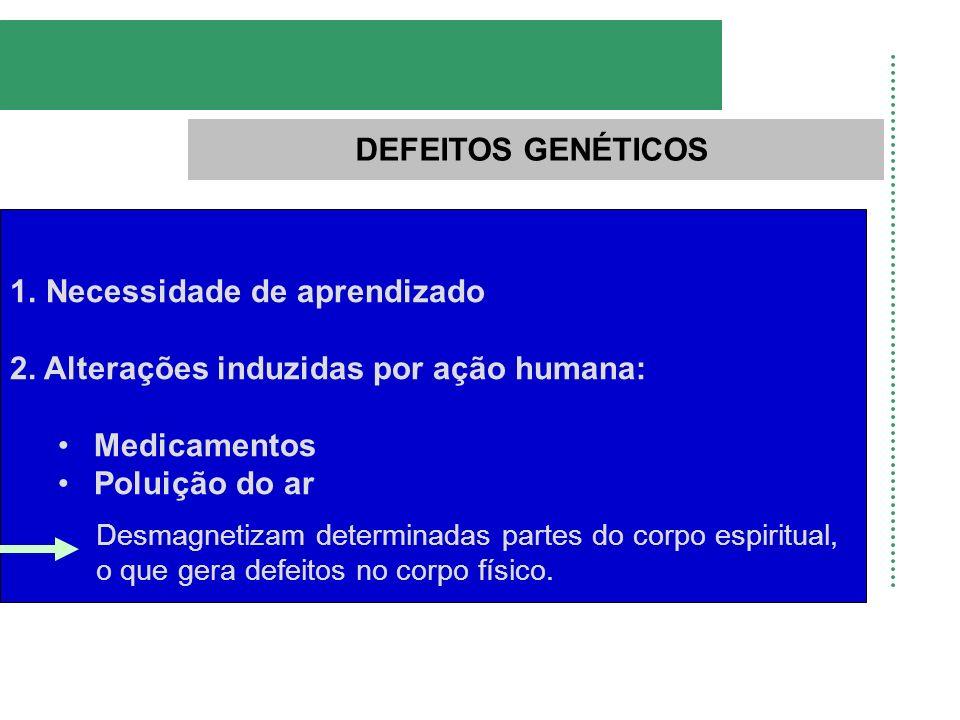 DEFEITOS GENÉTICOS 1.Necessidade de aprendizado 2. Alterações induzidas por ação humana: Medicamentos Poluição do ar Desmagnetizam determinadas partes
