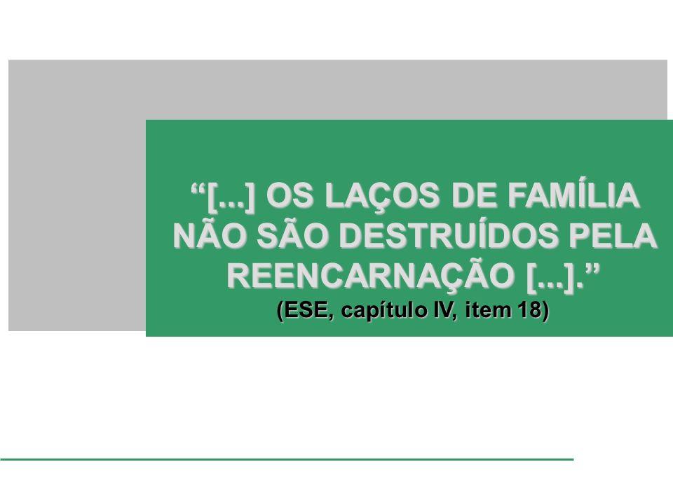 [...] OS LAÇOS DE FAMÍLIA NÃO SÃO DESTRUÍDOS PELA REENCARNAÇÃO [...]. (ESE, capítulo IV, item 18)