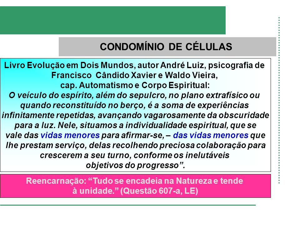 CONDOMÍNIO DE CÉLULAS Livro Evolução em Dois Mundos, autor André Luiz, psicografia de Francisco Cândido Xavier e Waldo Vieira, cap. Automatismo e Corp