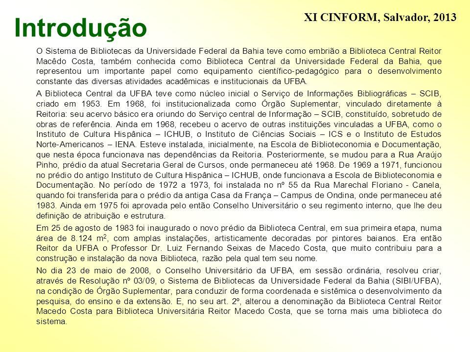 Introdução O Sistema de Bibliotecas da Universidade Federal da Bahia teve como embrião a Biblioteca Central Reitor Macêdo Costa, também conhecida como