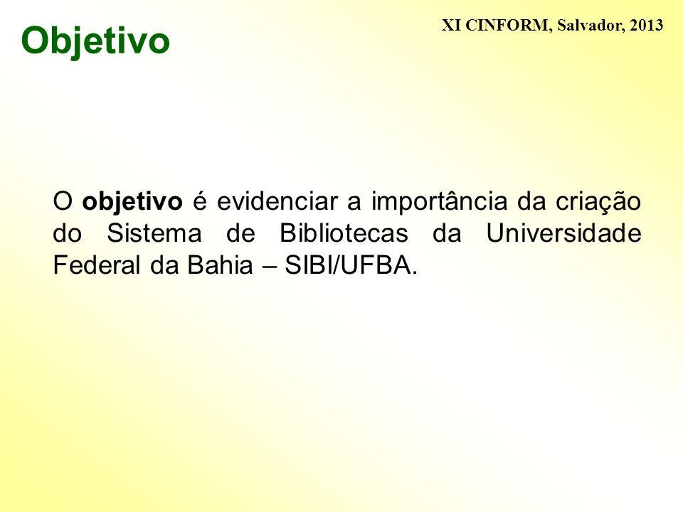 Objetivo O objetivo é evidenciar a importância da criação do Sistema de Bibliotecas da Universidade Federal da Bahia – SIBI/UFBA. XI CINFORM, Salvador