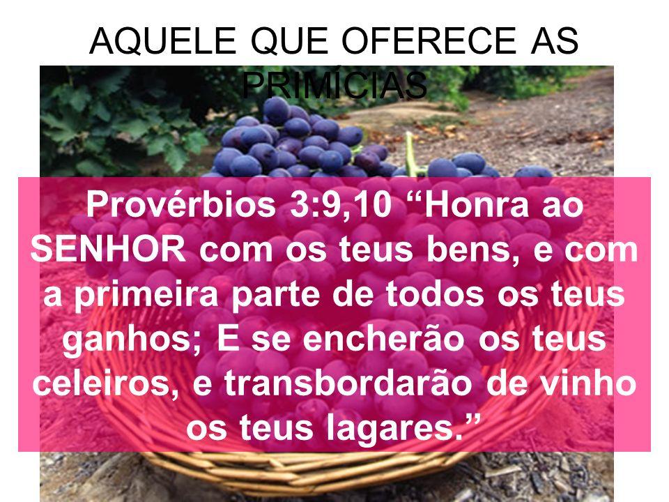 AQUELE QUE OFERECE AS PRIMÍCIAS Provérbios 3:9,10 Honra ao SENHOR com os teus bens, e com a primeira parte de todos os teus ganhos; E se encherão os t