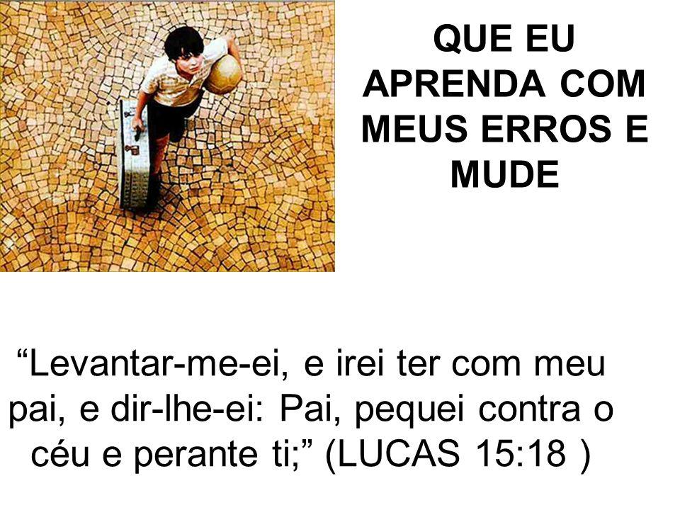 QUE EU APRENDA COM MEUS ERROS E MUDE Levantar-me-ei, e irei ter com meu pai, e dir-lhe-ei: Pai, pequei contra o céu e perante ti; (LUCAS 15:18 )