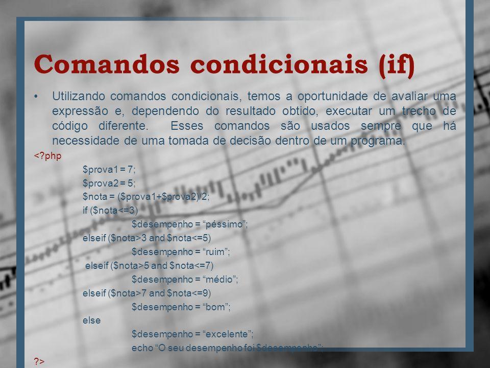 Comandos condicionais (if) Utilizando comandos condicionais, temos a oportunidade de avaliar uma expressão e, dependendo do resultado obtido, executar