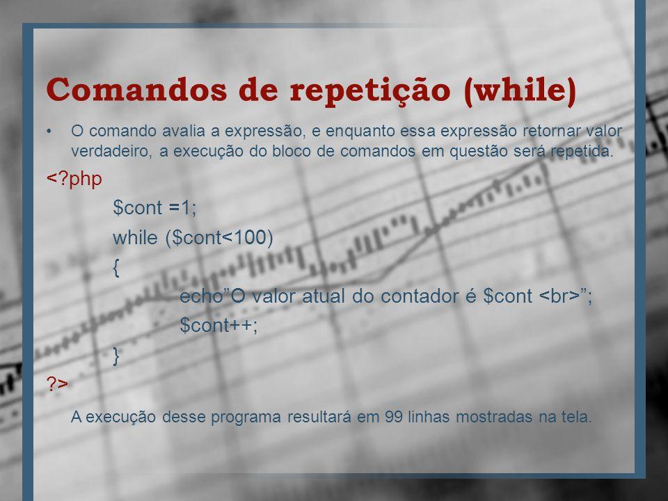 Comandos de repetição (while) O comando avalia a expressão, e enquanto essa expressão retornar valor verdadeiro, a execução do bloco de comandos em qu