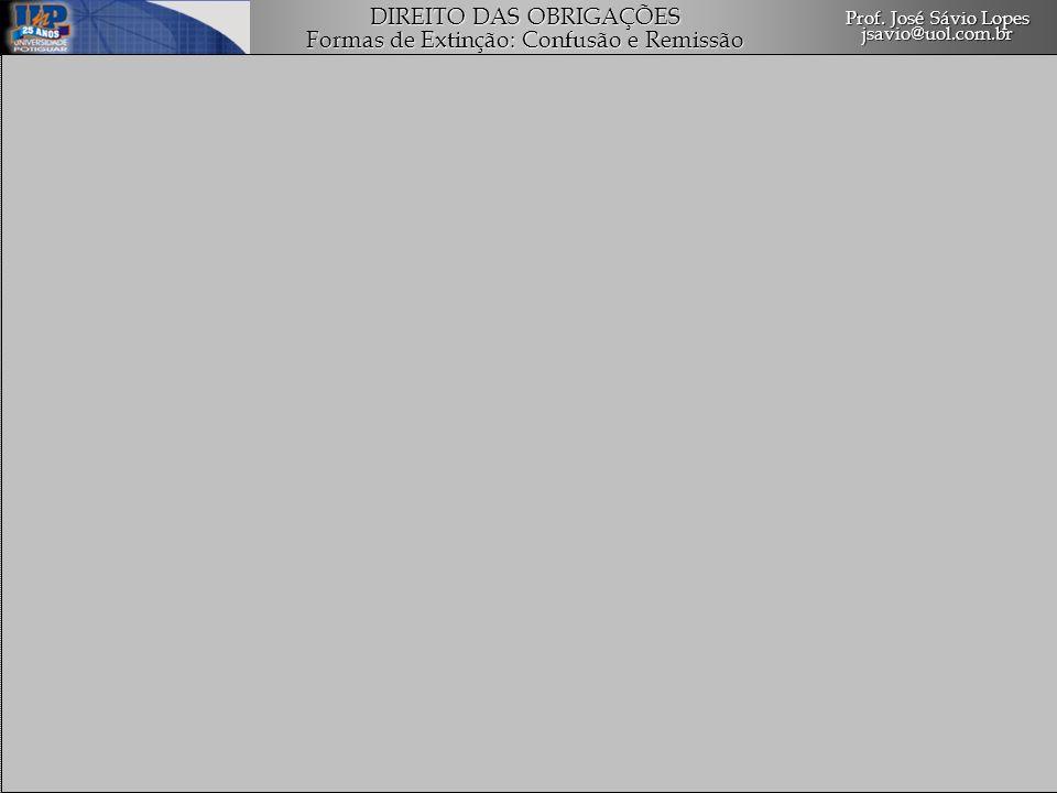 1.Confusão Conceito Espécies de Confusão Efeitos da Confusão Cessação da Confusão 2.Remissão das Dívidas Conceito Requisitos da Remissão Ânimo de Perdoar Aceitação do Perdão Espécies de Remissão Total / Parcial Expressa / Tácita Remissão a Co-devedor Prof.