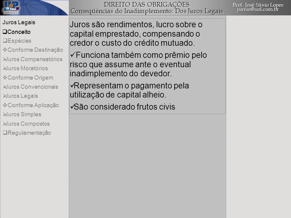 DIREITO DAS OBRIGAÇÕES Conseqüências do Inadimplemento: Dos Juros Legais Prof.