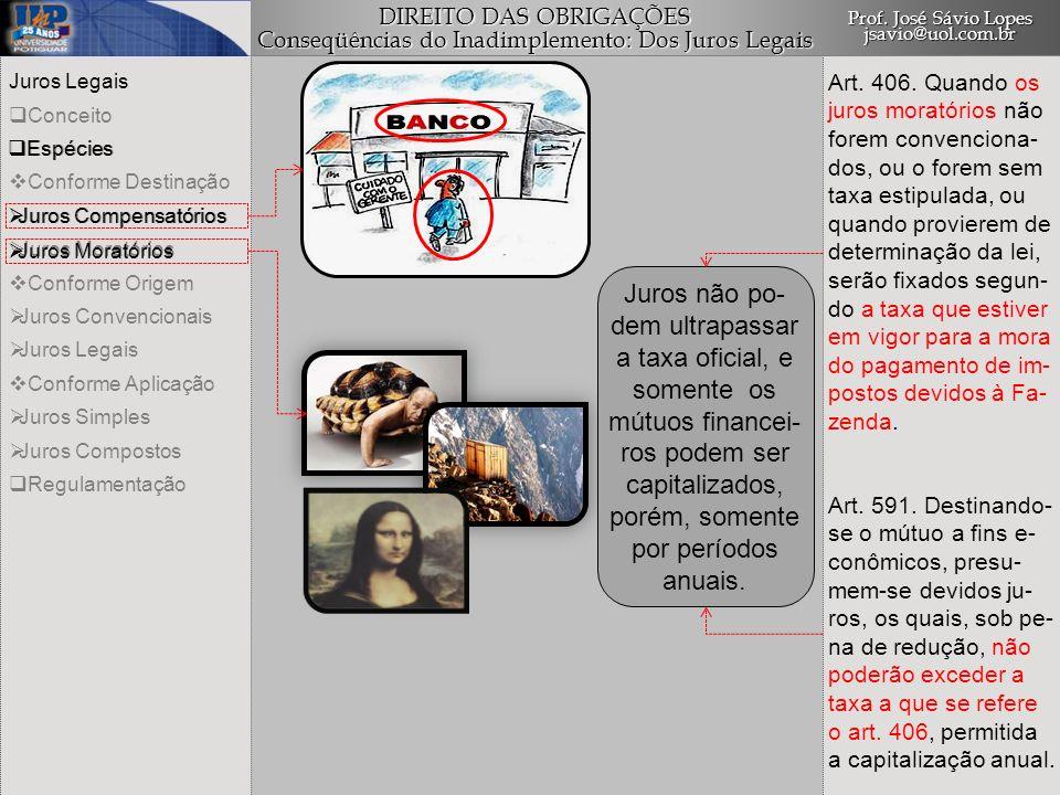 DIREITO DAS OBRIGAÇÕES Conseqüências do Inadimplemento: Dos Juros Legais Prof. José Sávio Lopes jsavio@uol.com.br Juros Legais Conceito Espécies Confo