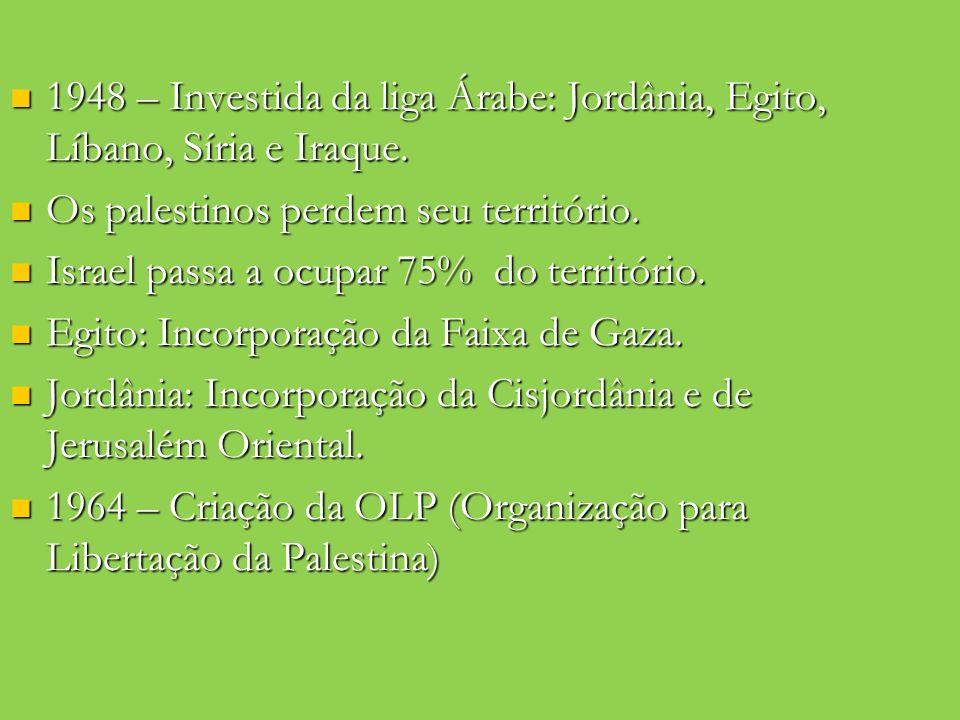 1948 – Investida da liga Árabe: Jordânia, Egito, Líbano, Síria e Iraque. 1948 – Investida da liga Árabe: Jordânia, Egito, Líbano, Síria e Iraque. Os p