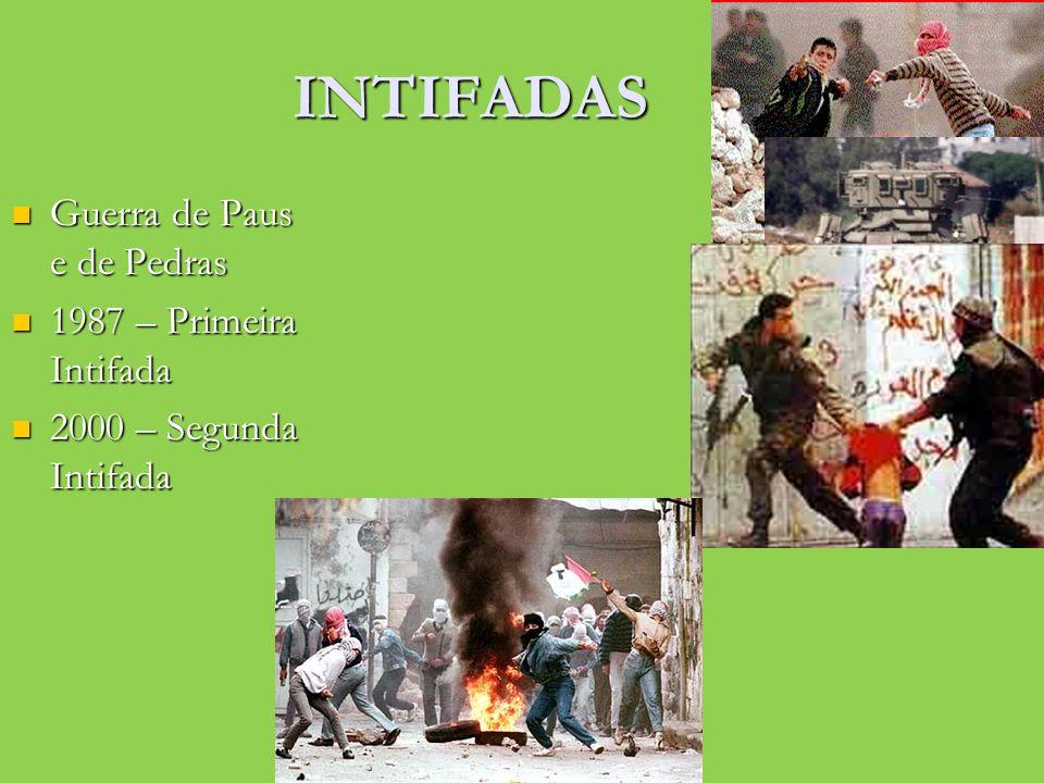 INTIFADAS Guerra de Paus e de Pedras Guerra de Paus e de Pedras 1987 – Primeira Intifada 1987 – Primeira Intifada 2000 – Segunda Intifada 2000 – Segun