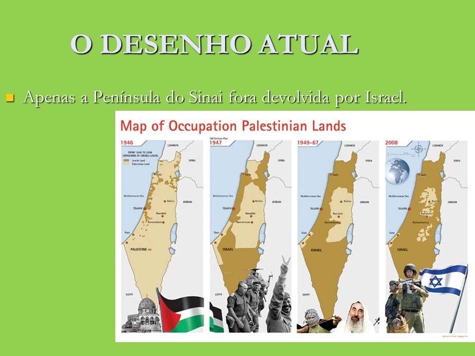 O DESENHO ATUAL Apenas a Península do Sinai fora devolvida por Israel. Apenas a Península do Sinai fora devolvida por Israel.