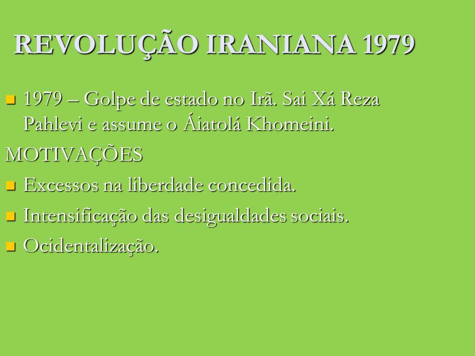 REVOLUÇÃO IRANIANA 1979 1979 – Golpe de estado no Irã. Sai Xá Reza Pahlevi e assume o Áiatolá Khomeini. 1979 – Golpe de estado no Irã. Sai Xá Reza Pah