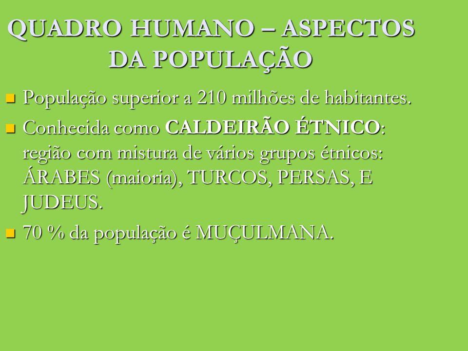 QUADRO HUMANO – ASPECTOS DA POPULAÇÃO População superior a 210 milhões de habitantes. População superior a 210 milhões de habitantes. Conhecida como C
