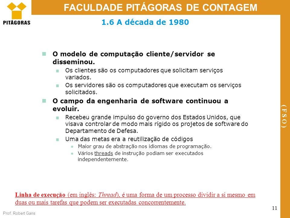 Prof. Robert Gans 11 FACULDADE PITÁGORAS DE CONTAGEM ( F S O ) 1.6 A década de 1980 O modelo de computação cliente/servidor se disseminou. Os clientes