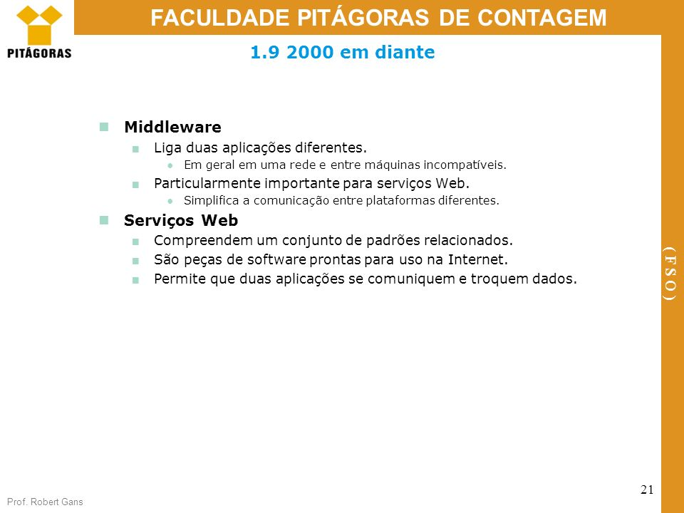 Prof. Robert Gans 21 FACULDADE PITÁGORAS DE CONTAGEM ( F S O ) 1.9 2000 em diante Middleware Liga duas aplicações diferentes. Em geral em uma rede e e