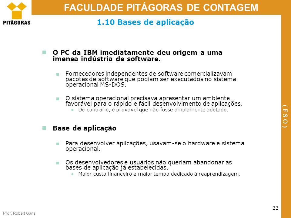 Prof. Robert Gans 22 FACULDADE PITÁGORAS DE CONTAGEM ( F S O ) 1.10 Bases de aplicação O PC da IBM imediatamente deu origem a uma imensa indústria de