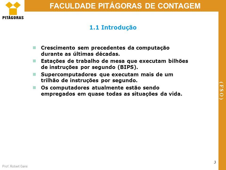 Prof. Robert Gans 3 FACULDADE PITÁGORAS DE CONTAGEM ( F S O ) 1.1 Introdução Crescimento sem precedentes da computação durante as últimas décadas. Est