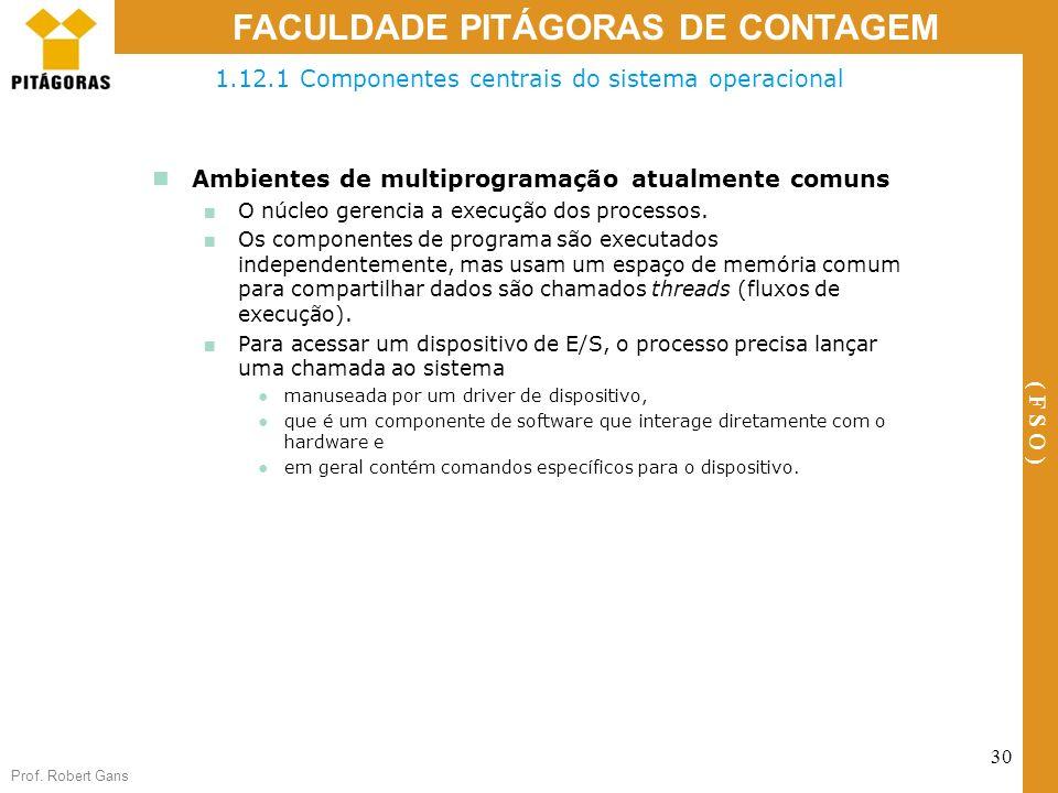Prof. Robert Gans 30 FACULDADE PITÁGORAS DE CONTAGEM ( F S O ) Ambientes de multiprogramação atualmente comuns O núcleo gerencia a execução dos proces