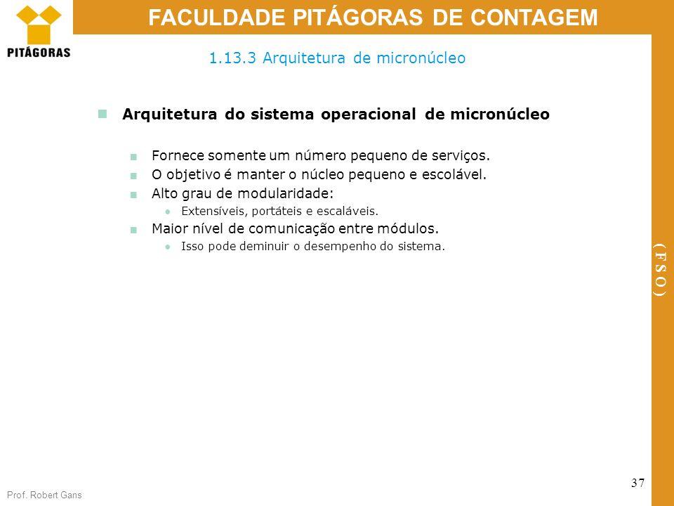 Prof. Robert Gans 37 FACULDADE PITÁGORAS DE CONTAGEM ( F S O ) Arquitetura do sistema operacional de micronúcleo Fornece somente um número pequeno de