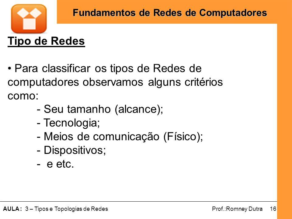 16AULA : 3 – Tipos e Topologias de RedesProf.:Romney Dutra Fundamentos de Redes de Computadores Tipo de Redes Para classificar os tipos de Redes de co