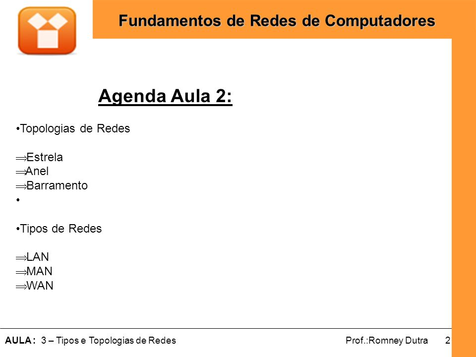 13AULA : 3 – Tipos e Topologias de RedesProf.:Romney Dutra Fundamentos de Redes de Computadores Topologia X Tipos de Redes LAN´s e MAN´sWAN´s BarramentoTotalmente Ligada Anel EstrelaParcialmente ligadas Hibridas