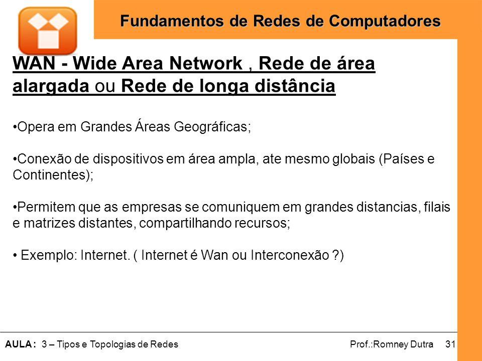 31AULA : 3 – Tipos e Topologias de RedesProf.:Romney Dutra Fundamentos de Redes de Computadores WAN - Wide Area Network, Rede de área alargada ou Rede