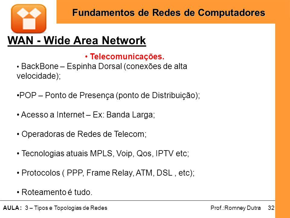 32AULA : 3 – Tipos e Topologias de RedesProf.:Romney Dutra Fundamentos de Redes de Computadores WAN - Wide Area Network Telecomunicações. BackBone – E
