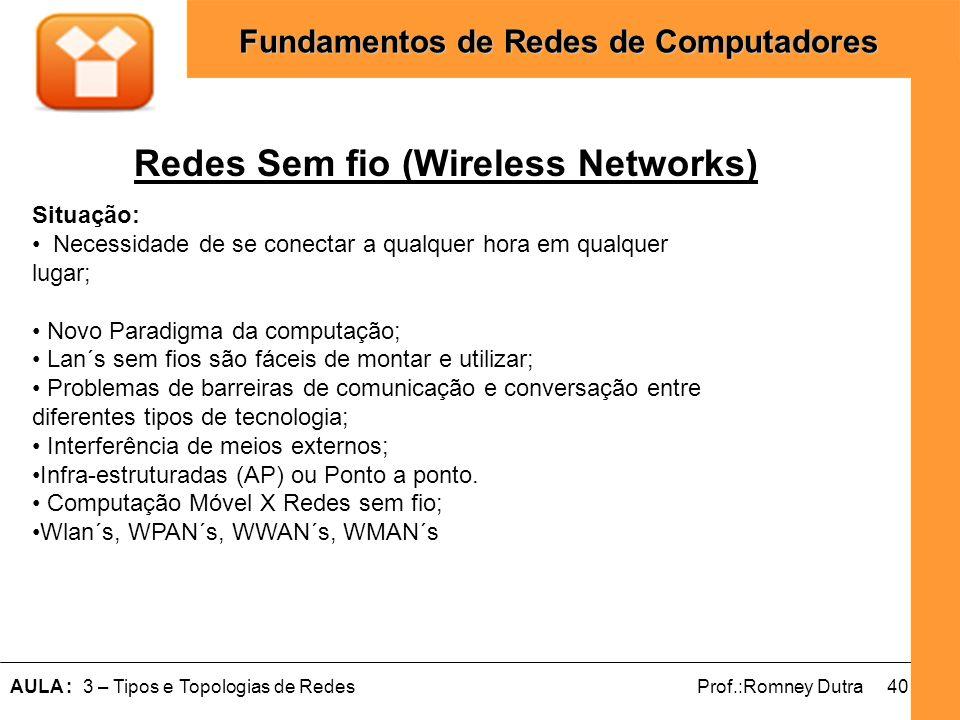 40AULA : 3 – Tipos e Topologias de RedesProf.:Romney Dutra Fundamentos de Redes de Computadores Redes Sem fio (Wireless Networks) Situação: Necessidad